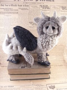 Needle Felted Grey Chimera- Needle Felted OOAK Griffin, Gargoyle or Creature Soft Sculpture by Bella McBride
