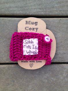 Shh this is wine cup cozy crochet cozy mug cozy by mandag433