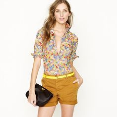 J. Crew does it again!  Perfection in a shirt.  It's floral it's sexy it's girly.  Made with exclusive fabric from Liberty.