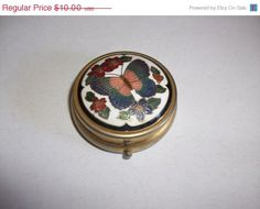25 OFF SALE Vintage Butterfly Enamel Box with Four by MICSJWL, $7.50