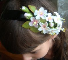 """Flower headband """"branch of apple blossoms"""" Floral hair accessories. Hair clay flowers(cold porcelain).Headpiece.Rustic style."""