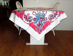 Vintage Tablecloth Strawberrys Grapes and by BridenetVintageLinen