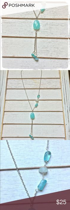 NEW SILVER & LIGHT AQUA NATURAL STONE NECKLACE NEW, HANDCRAFTED SILVER & PRETTY LIGHT AQUA NATURAL STONE NECKLACE Adorned by Amie Jewelry Necklaces