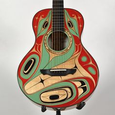 """Supernatural Frog"" Paragon Guitar by William Kuhnley, Nuu-chah-nulth (Ditidaht) artist (X120904)"