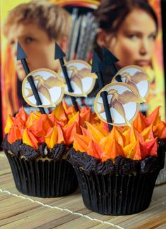 """Hunger Games """"Girl on Fire"""" Cupcakes"""