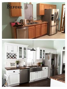Farmhouse Kitchen Cabinets, Modern Farmhouse Kitchens, Kitchen Cabinet Design, Modern Kitchen Design, Cool Kitchens, Kitchen Taps, Kitchen Backsplash, Country Kitchen, Galley Kitchens