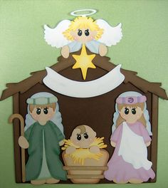 Christmas Nativity Paper Piecing Set by scrappinwithmom on Etsy