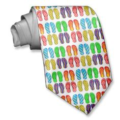 Shop Flip Flops Colorful Fun Beach Theme Summer Gifts Neck Tie created by azlaird. Summer Gifts, Custom Ties, Neckties, Unique Image, Beach Fun, Beach Themes, Flip Flops, Colorful, Prints