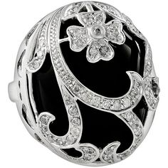 Sterling Silver 1/2-ct. T.W. Diamond and Onyx Floral Filigree Ring ($1,000) ❤ liked on Polyvore featuring jewelry, rings, accessories, black, onyx ring, floral diamond ring, diamond jewelry, sterling silver jewelry and open heart ring