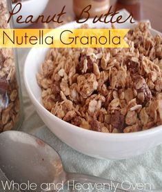 Peanut Butter Nutella Granola---Two fabulous nut butters combine in this delightfully crunchy and crazy-good granola. Warning: This granola is very addicting. Healthy Cooking, Healthy Snacks, Healthy Recipes, Best Granola, Granola Bars, Yummy Treats, Yummy Food, Tasty, All Bran