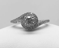 KAY TOLKOWSKY DIAMOND RING 3/4CT 14K IDEAL CUT SWIRL HALO  | eBay Anniversary Pictures, Halo, Heart Ring, Engagement, Diamond, Rings, Ebay, Jewelry, Anniversary Pics