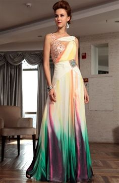 Georgette Omber Beading Print Prom Dress  $189  #prom #outerinner