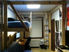 As an RA in a dorm, my room is tiny. To make room for a couch, I made a bed that doesn't take up any floor space at all. Loft Bed Plans, College Costs, College Hacks, School Hacks, Hanging Beds, Hanging Chairs, Dorm Room Organization, Dorm Bedding, How To Make Bed