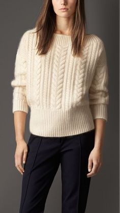CABLE KNIT WOOL MOHAIR BLEND SWEATER - A cable knit sweater crafted from a wool and mohair blend. The relaxed design features a boat neckline and is finished with ribbed cuffs, neck and hem. Vogue Knitting, Hand Knitting, Knitting Patterns Free, Crochet Patterns, Handgestrickte Pullover, Hand Knitted Sweaters, Knitted Bags, Knit Fashion, Top Pattern