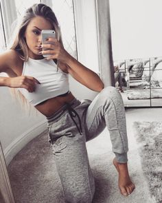 grey sweatpants with white cropped top- keeping it simple