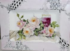 Painting glass...roses and  pinwork