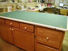 cutting table from stock cabinets