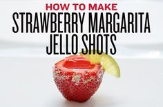 Strawberry Margarita Jell-O Shots INGREDIENTS Berry prep 24-30 large strawberries Jell-O 1 box Strawberry Jell-O 1 cup tequila 3/4 cup cointreau To finish Sugar 1-2 limes Special equipment A melon …