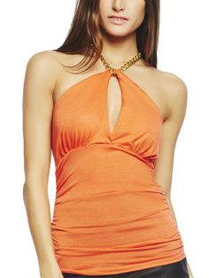 Arden B. Women's Chain Halter Keyhole Cutout Top at Amazon Women's Clothing store