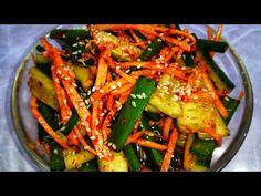 Соседка Кореянка научила меня готовить этот Салат. Невероятные Огурцы по корейски. Покоряет сразу. - YouTube Korean Street Food, Thai Dessert, Asian Recipes, Ethnic Recipes, Japchae, Food Videos, Asparagus, Green Beans, Zucchini