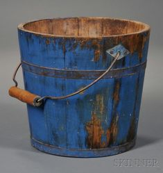 Shaker Blue-painted Pail   Sale Number 2608M, Lot Number 50   Skinner Auctioneers