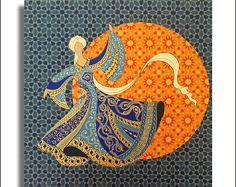 Original Painting Whirling Dervish Sufi Dance by AEDesignHouse Islamic Art Pattern, Pattern Art, Motifs Islamiques, Decoupage, Islamic Paintings, Iranian Art, Guache, Arabic Art, Turkish Art