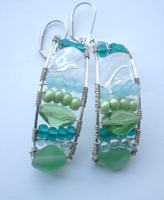 wire and bead earrings.  Lovely colors...says springtime and beach weather coming.