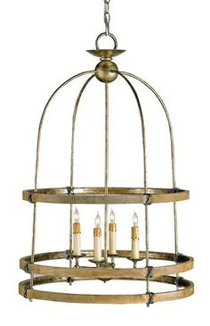 Discover designer furniture, wall sconces, chandeliers and lamps at Lovecup. We carry the full line of Currey and Company furniture and lighting including the Beesthorpe Lantern. Capturing the rough luxe aesthetic, the birdcage-inspired Beesthorpe Lantern fuses rough-hewn materials with upscale sensibility. Three Chestnut bands surround the slender iron framework, meeting at charming iron rope knots. A Pyrite Bronze finish completes the vintage look.