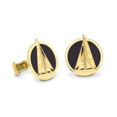 THEO FENNELL BLACK ENAMEL J CLASS YACHT CUFFLINKS REF: 6-2-02-0056 £5,250.00 Beautifully crafted from 18ct Yellow Gold and Black Enamel