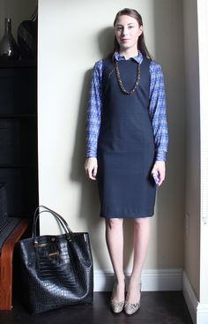 Layered business shirt + navy sheath dress + heels