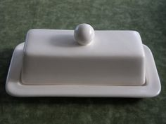 Ivory White Butter Dish / Server With Lid