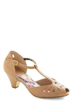 Take a Little Dip Heel in Sand, #ModCloth $64.99
