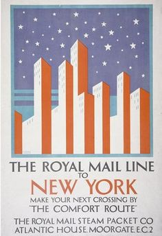 The Royal Mail Line to New York poster, Horace Taylor, 1920-1925. Museum no. E.516-1925