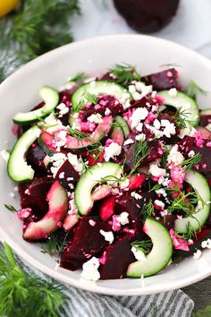 This Beet Salad with Feta Cucumbers and Dill takes only 10 minutes to make and is packed with sweet salty and tangy flavors. You can use roasted or canned beets for this easy vegetarian side. Care Skin Condition and Treatment Oil Makeup Beet Salad Recipes, Cucumber Recipes, Recipes For Beets, Recipes With Dill, Feta Cheese Recipes, Gourmet Recipes, Cooking Recipes, Healthy Recipes, Summer Vegetarian Recipes