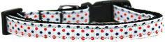 Patriotic Polka Dots Nylon Ribbon Dog Collar XS