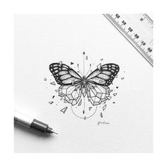 #Butterfly #Geometry Sketchy Stories: The Sketchbook Art of Kerby Rosanes, #Drawing #Tattoo Sketch, Animal, Image - Photo by @blackworknow - Follow #extremegentleman for more pics like this!