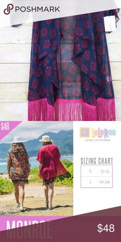 LuLaRoe Monroe Kimono Size Small LuLaRoe has retired the Monroe style.   Monroe is a fun and unique twist on a classic kimono. This sheer, 3/4 sleeves kimono was designed to be able to go over any dress, top and skirt or leggings.  Navy background for Hot Pink fringe, Size Small LuLaRoe Tops