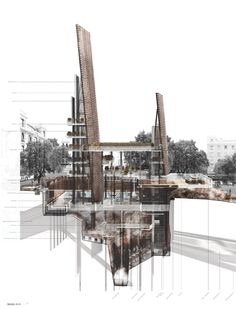 Presidents Medals: The Basilica of Water: Reviving Madrid's Viajes de Agua Section Drawing, Student Awards, Architectural Section, School Architecture, Palermo, Graphic Design, Water, Snapchat Add, House