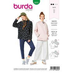 Misses Hoodie and Sweatshirt Burda Sewing Pattern 6253. Size 8-18.