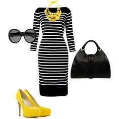 Black Ralph Lauren dress, Gucci bag & YSL shades punched up with yellow MaxMara necklace & Brian Atwood pumps
