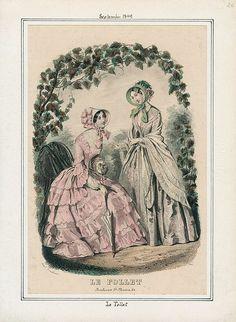 1849. garden dresses, Le Follet, September.