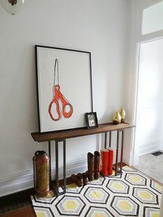 LOVE this table!  her fil made it!  http://lifebeginsatthirtyright.blogspot.com/