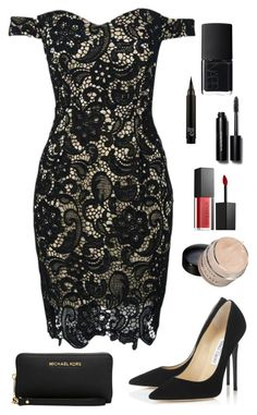 """Black 231"" by mrswilkinson ❤ liked on Polyvore featuring Jimmy Choo, WithChic, Michael Kors, Smashbox, Bobbi Brown Cosmetics, NARS Cosmetics and black"