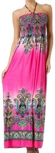 Sakkas Paisley1A-7931 Paisley Graphic Print Beaded Halter Smocked Bodice Maxi Dress - Pink / Small Sakkas http://www.amazon.com/dp/B0040DQ746/ref=cm_sw_r_pi_dp_uQBKvb1DFADDJ