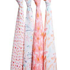 4Pk Muslin Wraps - Petal Blooms