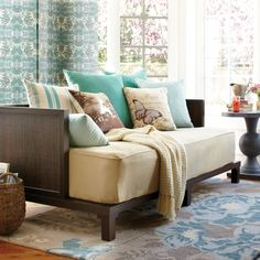 This could be perfect on the 3rd floor for the extra matresses Daybed as couch... So cool to do to the queen bed in our study