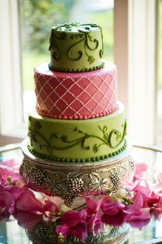 Pink and Green Wedding Cake, Garden Wedding, Southern Event Planners, Memphis Weddings