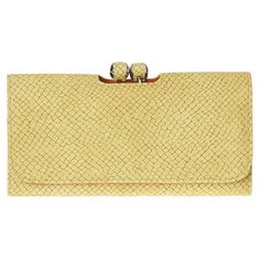 """I want this wallet! Python print wallet with fold over flap, kiss lock change compartment and back zipper compartment. Inside features three full length compartments and four card slots. Measures approx 7 1/2"""" L x 4"""" H x 1"""" D."""