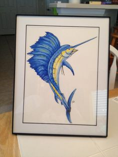 Ink and watercolor pencil Sailfish