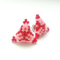 Beaded Stud Earrings Triangle Seed Bead Earrings by Galiga